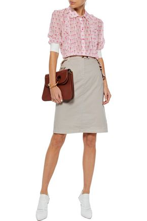BAUM UND PFERDGARTEN Samantha ruffle-trimmed stretch-cotton poplin skirt