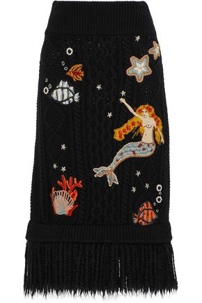REDValentino Fringe-trimmed embroidered cable-knit wool midi skirt