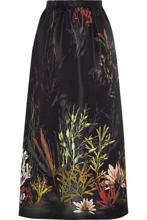 REDValentino Printed satin-faille midi skirt