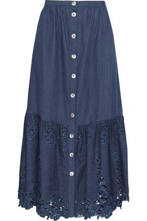 MIGUELINA Adrienne guipure lace-paneled cotton-chambray midi skirt