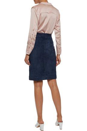 IRIS & INK Nadia pleated suede skirt