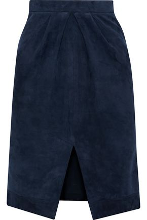 IRIS & INK Nadia pleated suede skirt
