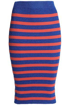 BAUM UND PFERDGARTEN Metallic striped ribbed-knit midi skirt
