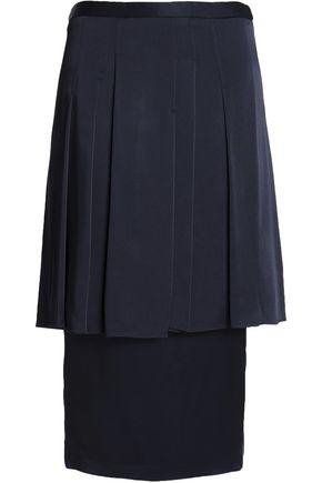CHALAYAN Layered pleated satin-crepe skirt