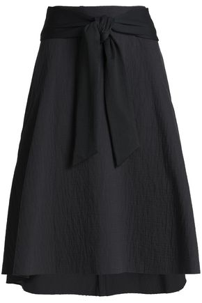 CHALAYAN Flared belted cotton-blend skirt