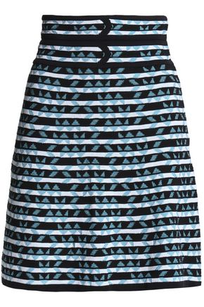 Flared cotton-blend jacquard mini skirt