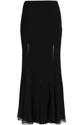 ROBERTO CAVALLI Fluted ribbed and stretch-knit maxi skirt