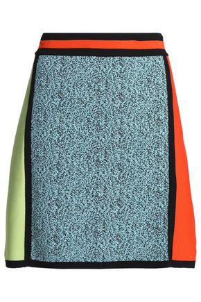 Jacquard-paneled knitted mini skirt