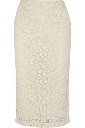 REDValentino Cotton macramé lace pencil skirt