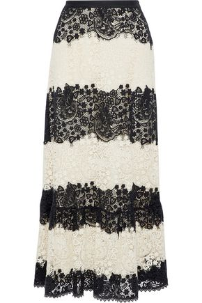 REDValentino Two-tone cotton guipure lace maxi skirt