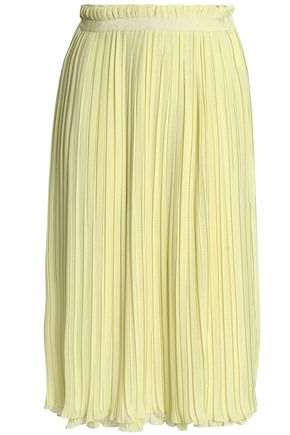BAUM UND PFERDGARTEN Grosgrain-trimmed pleated georgette skirt