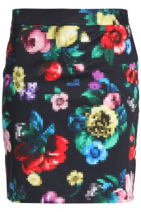 LOVE MOSCHINO Printed stretch-cotton mini skirt
