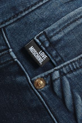 LOVE MOSCHINO Faded denim mini skirt