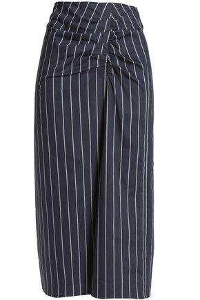 TIBI Ruched striped cotton-poplin midi skirt
