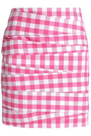LOVE MOSCHINO Paneled gingham cotton-blend mini skirt