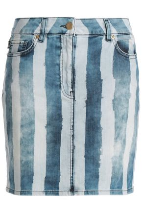 LOVE MOSCHINO Striped denim mini skirt