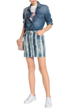 LOVE MOSCHINO Striped denim mini skirt