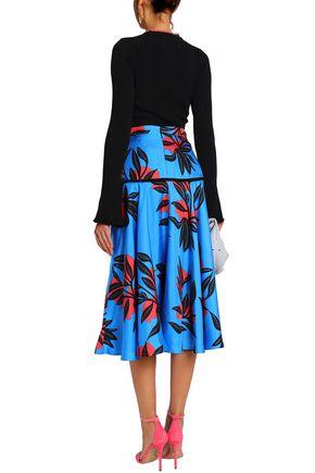 ROKSANDA Printed silk-satin midi skirt