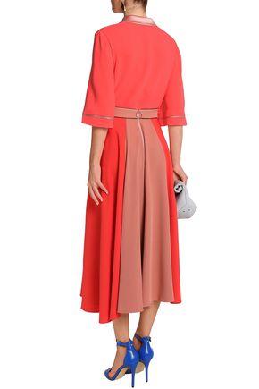 ROKSANDA Fluted two-tone crepe midi skirt