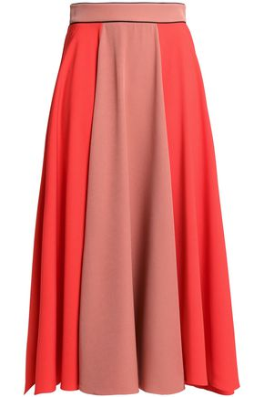 ROKSANDA Fluted two-tone crepe midi skirt