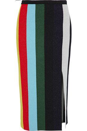 DIANE VON FURSTENBERG Metallic striped wool-blend skirt