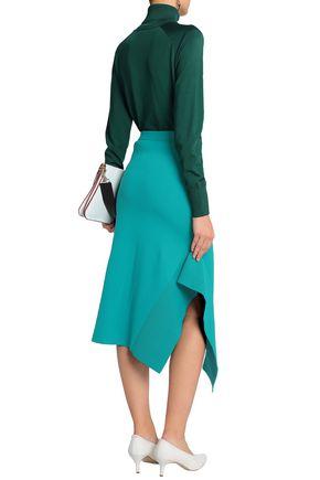 TIBI Asymmetric stretch-ponte midi skirt