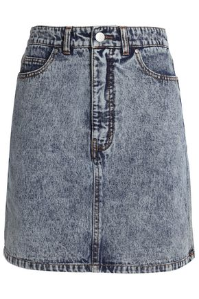 TIBI Faded denim mini skirt