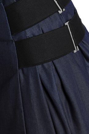 AMANDA WAKELEY Wrap-effect pleated denim midi skirt