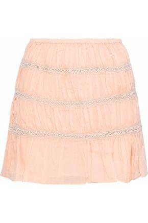 LOVE SAM Crochet-trimmed gauze mini skirt