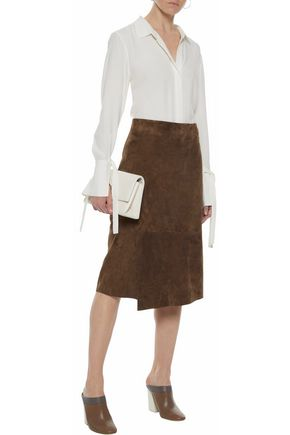 VINCE. Wrap-effect suede skirt