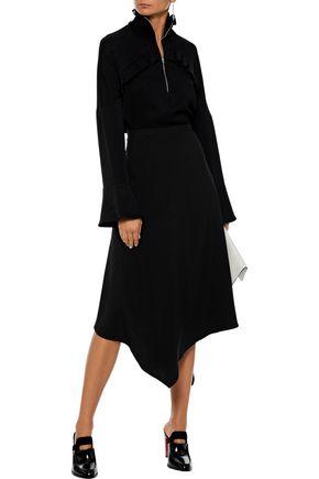 CHALAYAN Asymmetric satin-crepe midi skirt