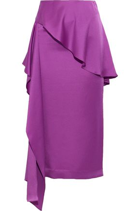 CHALAYAN Layered draped satin-crepe midi skirt