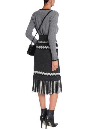 REDValentino Fringed intarsia-knit skirt