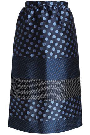 REDValentino Paneled polka-dot jacquard midi skirt