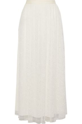 ADAM LIPPES Pleated Chantilly lace maxi skirt
