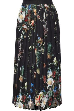 ADAM LIPPES Pleated floral-print chiffon midi skirt