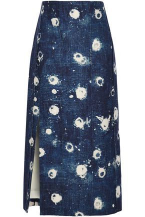ADAM LIPPES Bleached denim midi skirt