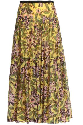 REDValentino Pleated floral-print cotton and silk-blend mousseline maxi skirt