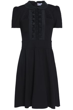 REDValentino Point d'esprit-paneled jersey and crepe de chine mini dress