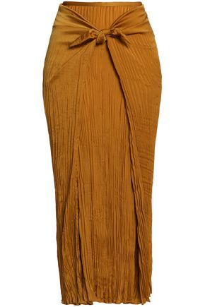 VINCE. Knotted plissé-crepe midi skirt