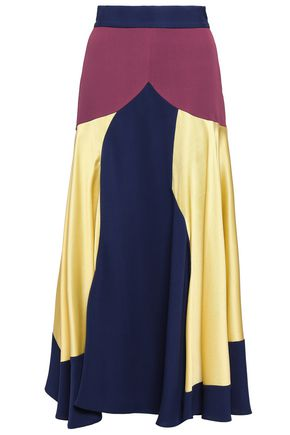 ROKSANDA Hammered satin-paneled crepe midi skirt