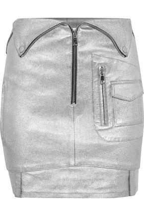 RTA Zip-detailed metallic stretch-leather mini skirt