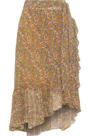 REBECCA MINKOFF Selena wrap-effect floral-print crepe de chine skirt