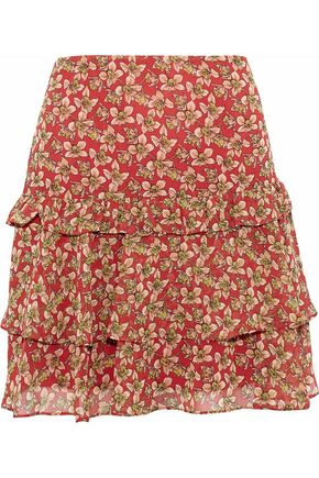 REBECCA MINKOFF Printed ruffled chiffon mini skirt