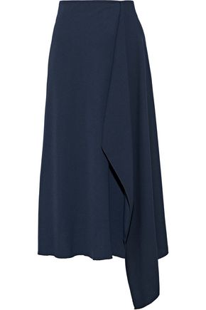 IRIS & INK Madge wrap-effect satin-crepe skirt