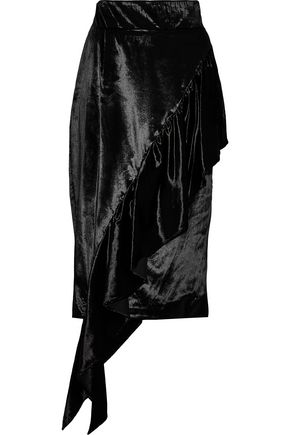 MILLY Asymmetric ruffled velvet skirt