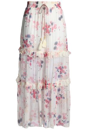 LOVE SAM Ruffled floral-print crepon maxi skirt