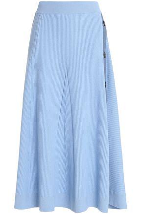 ROKSANDA Button-embellished ribbed wool-blend midi skirt