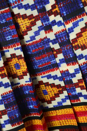 STELLA JEAN Printed pleated crepe de chine midi skirt
