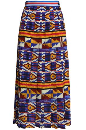STELLA JEAN Pleated printed crepe de chine midi skirt